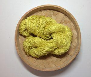 Handspun Banana Fibre Yarn Dyed with Weld